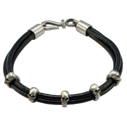 Браслет из кожаных шнуров с черепами FB412BLK