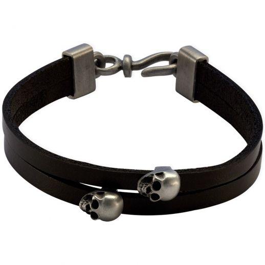 Кожаный браслет с черепами FB423BLK
