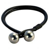 Браслет из кожаных шнуров с шарами из металла FB424BLK