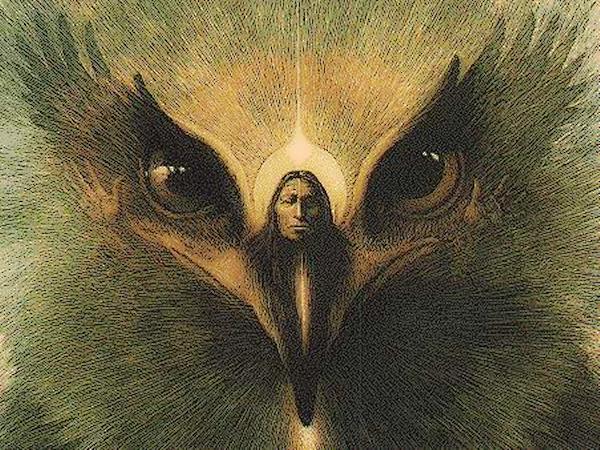 стилизованное изображение орла и индейца